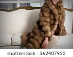 woman in fur coat  close up  on ... | Shutterstock . vector #562407922