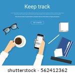 online reading news in social... | Shutterstock .eps vector #562412362