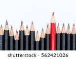 red pencil standing out from... | Shutterstock . vector #562421026
