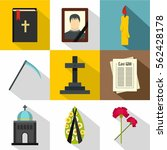 death of person icons set. flat ... | Shutterstock .eps vector #562428178