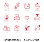 wedding icons set with red...   Shutterstock .eps vector #562430905