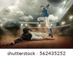 baseball players in action on... | Shutterstock . vector #562435252