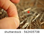male hand holding a pin with a... | Shutterstock . vector #562435738