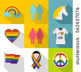 lgbt icons set. flat... | Shutterstock .eps vector #562437076
