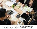 businessman brainstorming... | Shutterstock . vector #562437556