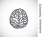 brain icon flat. | Shutterstock .eps vector #562444192