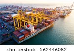 container ship in export and... | Shutterstock . vector #562446082