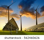 solar panels with wind turbines ... | Shutterstock . vector #562460626