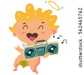 cute cupid listening to music... | Shutterstock .eps vector #562465762