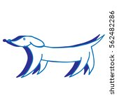 blue contour dog with shadow.... | Shutterstock .eps vector #562482286