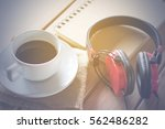 black coffee  book and... | Shutterstock . vector #562486282