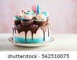 Pink And Blue Festive Cake Wit...