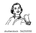 bright retro gal pointing over... | Shutterstock .eps vector #56253550