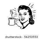 coffee gal with hot cup of java | Shutterstock .eps vector #56253553
