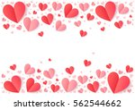 Stock vector red and pink folded paper hearts isolated on white valentines day vector background 562544662