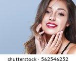 brunette woman girl with long... | Shutterstock . vector #562546252