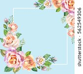 watercolor frame with beautiful ... | Shutterstock . vector #562549306