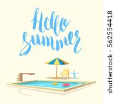 hello summer. swimming pool.... | Shutterstock .eps vector #562554418