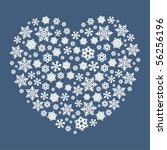 Heart Shape Made By Snowflakes.