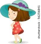 illustration of a girl on white ... | Shutterstock . vector #56256841