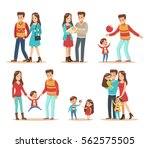happy family with father ... | Shutterstock .eps vector #562575505
