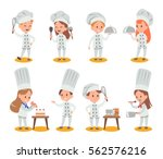 happy kids is cooking and... | Shutterstock .eps vector #562576216