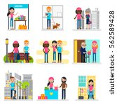 human volunteers collection... | Shutterstock .eps vector #562589428