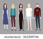 five women flat collection in... | Shutterstock .eps vector #562589746