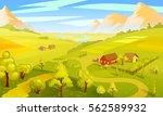 colorful summer landscape... | Shutterstock .eps vector #562589932