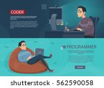freelance workplace horizontal... | Shutterstock .eps vector #562590058