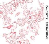 rose seamless pattern with bird | Shutterstock .eps vector #56260792