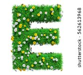 Letter E Of Green Grass And...