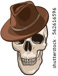 skull wearing hat. global color ... | Shutterstock .eps vector #562616596