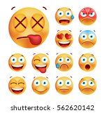 set of cute emoticons on white... | Shutterstock .eps vector #562620142