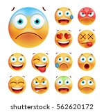 set of cute emoticons on white... | Shutterstock .eps vector #562620172
