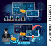 hackers cyber army hacking and... | Shutterstock .eps vector #562620715