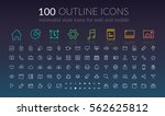 web outline icons set of flat...