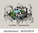 wipe out city against pollution ... | Shutterstock .eps vector #562635676