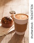hot coffee with late art and...   Shutterstock . vector #562637326