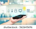 hand holding mobile with smart... | Shutterstock . vector #562645696