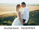 happy newly married couple... | Shutterstock . vector #562649365
