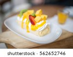 crepes cake roll with fresh... | Shutterstock . vector #562652746