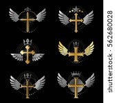 crosses religious emblems set.... | Shutterstock .eps vector #562680028