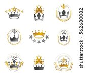 royal crowns emblems set.... | Shutterstock .eps vector #562680082