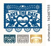 save the date cut out paper set | Shutterstock .eps vector #562687555