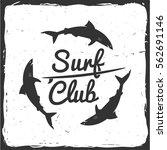 vector summer surfing retro... | Shutterstock .eps vector #562691146