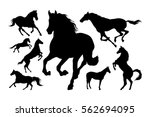 Horses Silhouette Set Vector...