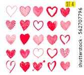 set of hand drawn hearts.... | Shutterstock .eps vector #562707796