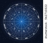 zodiac circle with astrology... | Shutterstock .eps vector #562710322