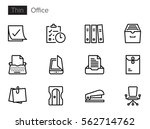 office thin line vector icons... | Shutterstock .eps vector #562714762